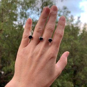 Valou - Black CZ 3 Cap Ring - M